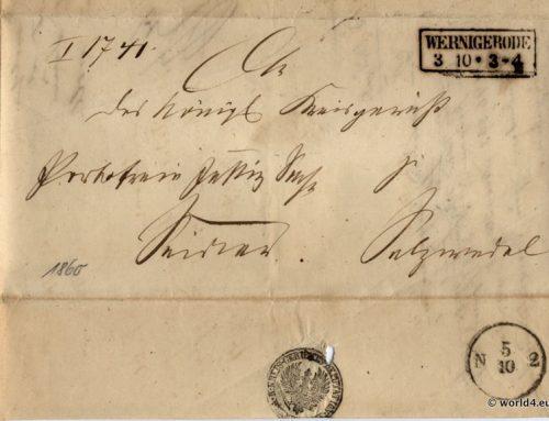Old German States Wernigerode letter 1865.