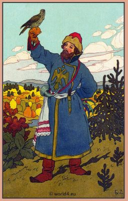 Russian falconry. Collectible postcard. Traditional Russia National Costume