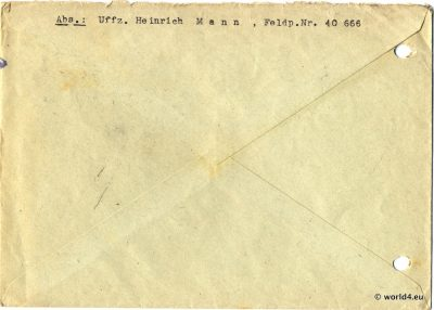 Back of German Air Field Post cover World War 2. Template. Field Post Number
