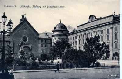 Innsbruck Hofkirche, Hofburg mit Leopoldsbrunnen. Collectible Postcard, Austria Architecture, Topography.