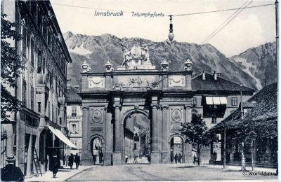 AK Innsbruck triumphal arch. Collectible Postcard, Austria Architecture, Topography.