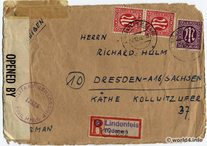 military censorship cover  germany 1945