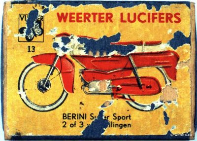 Weerter Lucifers, DeGruyter, Berini Super Sport. Collectible Phillumeny. German Graphics Design. Vintage Matchbox 1960s.