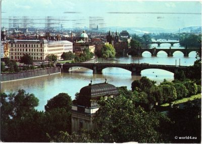 Old Postcard Prague Czech Republic 1974. Panoramic photography of Prague.