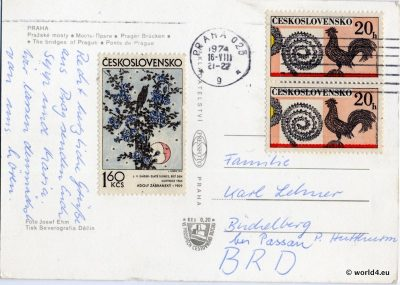 Back of Postcard. Template, Stamps, Handwriting, Philately, Prague, Postmark, Autograph.