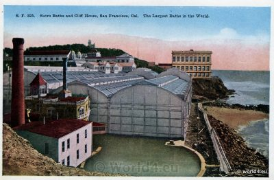 Sutro Baths and Cliff House. Rare Collectible Postcard. San Francisco, California.