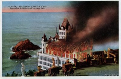 Burning, Cliff House, San Francisco, California, Rare official postcard, Collectible,