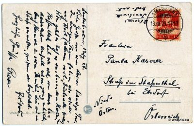 Back of Postcard. Template, Stamps, Handwriting, Philately, Isenfluh Switzerland, Postmark, Autograph.