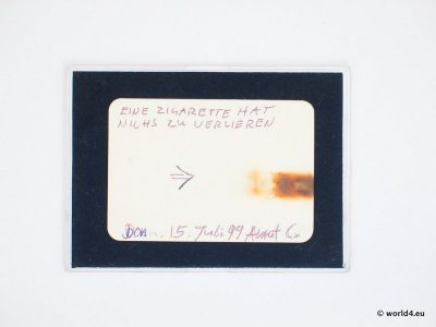 A cigarette at July 1999. Artis Assemblage. Diary.