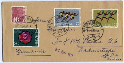 Philately, Stamps, Postmark, Czech Republic, Switzerland, Helvetia, Briefmarken, selten, rare