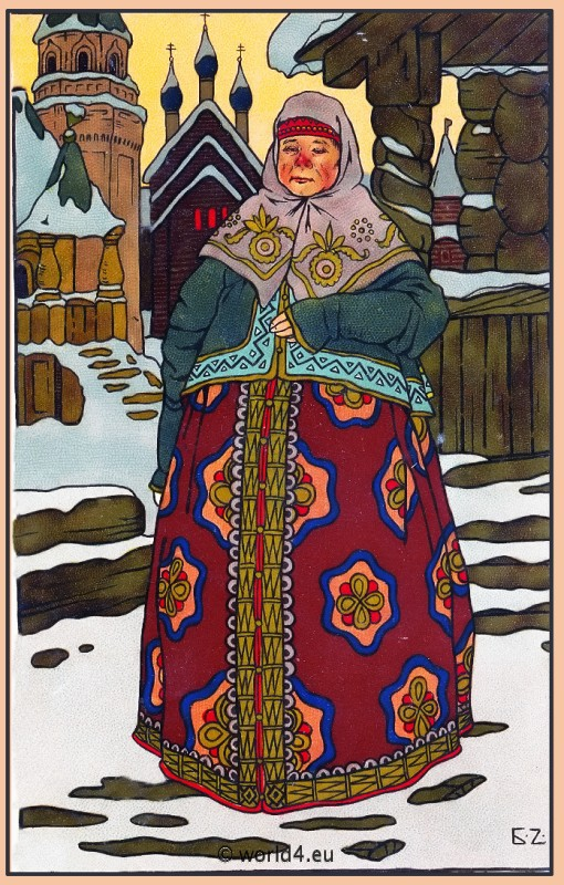 Traditional Russia National Costume. Russian Citizen folk clothing. Collectible postcard.