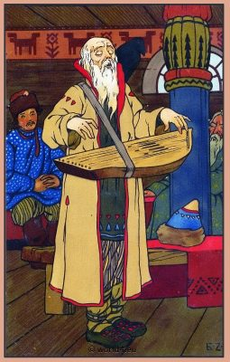 Russian Musicians. Traditional Russia National Costume. Russian Illustration. Russian Folk dress
