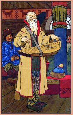 Russian Musicians. Traditional Russia National Costume. Russian Illustration. Russian Folk dress