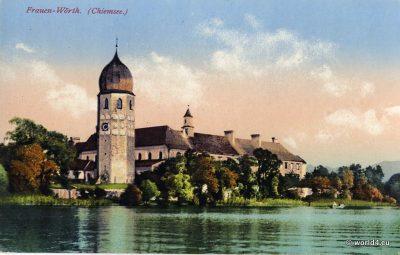 Church Frauen Wörth Chiemsee. Postcard Bavaria. Bavarian Alps.