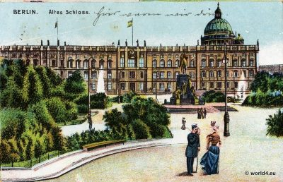 Berlin old castle. old postcard. Berlin architecture