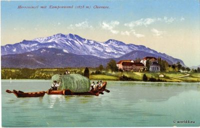 Postcard Bavaria. Bavarian Alps. Herreninsel Chiemsee