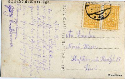 Hotel Schoenblick. Feldkirch Austria. Antique Postcard. Rare Austrian Stamps. Template Calligraphy