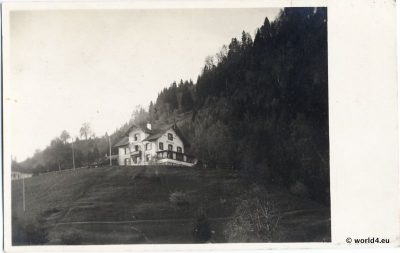 Hotel Schoenblick Feldkirch Austria 1924. Antique Postcard. Austrian Alps. Mountain Architecture.