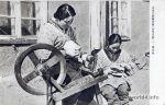 Manchuria women spin wool. Old Postcard. People's Republic of China. Chinese Costumes and Crafts.