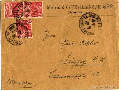 Old letter France Normandy, 1931. Collectible stamps, handwriting, postmark. LA MAIRIE D'OCTEVILLE-SUR-MER.