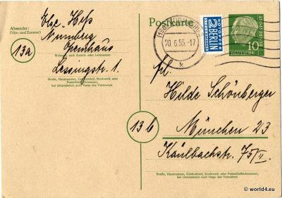German Autograph. Postcard template with handwriting and rare German stamps. Collectible Item.