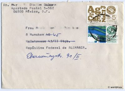 Cover Letter with rare Mexico Stamps. Collectible Philately. Handwriting Template. Postmark.