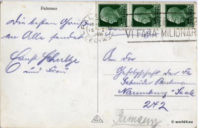Sicily Back of Postcard. German handwriting. Template Calligraphy. OId Italian Stamps, Postmark.