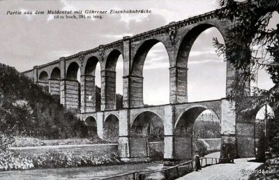 Muldental railway bridge viaduct. Postcard. Topography. Germany Saxony
