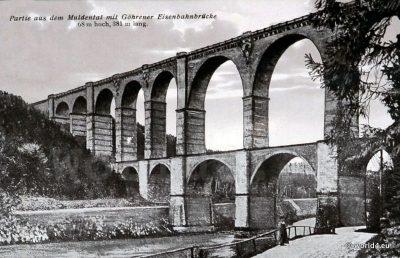 Muldental railway bridge viaduct. Postcard. Topography. Germany Saxony