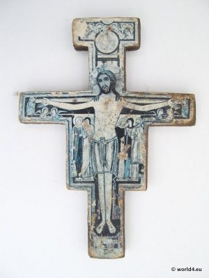 Christian cross with illustration.