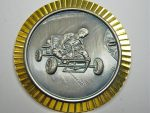 Collectible vintage plaque. Go kart racing. Germany 1970s.