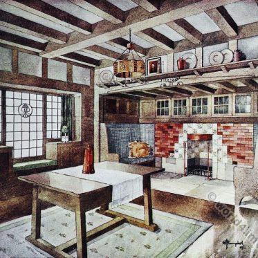 Living room design. Small house. J. A. Campbell. Art nouveau era.
