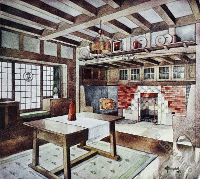 Living room design. Small house. John Archibald Campbell. Art nouveau era.