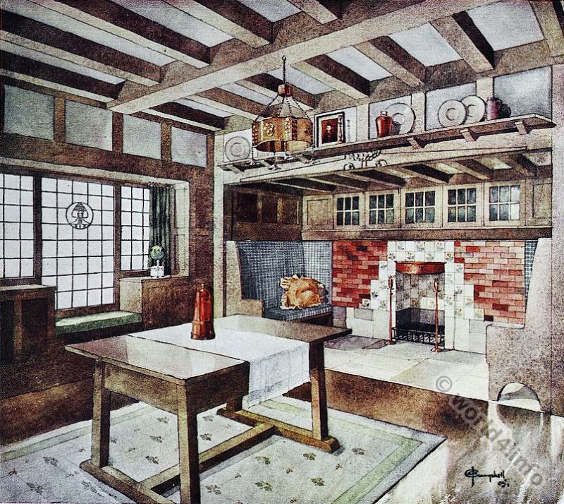 Furniture, Living room, design, Small house. J. A. Campbell, Art nouveau