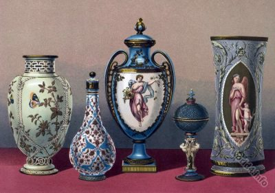 Old Sèvres vase models. Group of antique Porcelain. pâte tendre. Porcelaine frittée