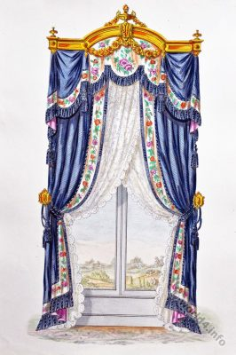 Window Decor, curtain. 18th century design. Rococo furniture