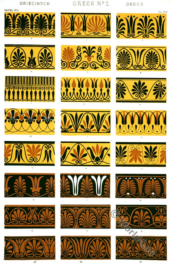 Greek Ornaments, Greek fret, Greek vases, Ancient design, Greece, Owen Jones