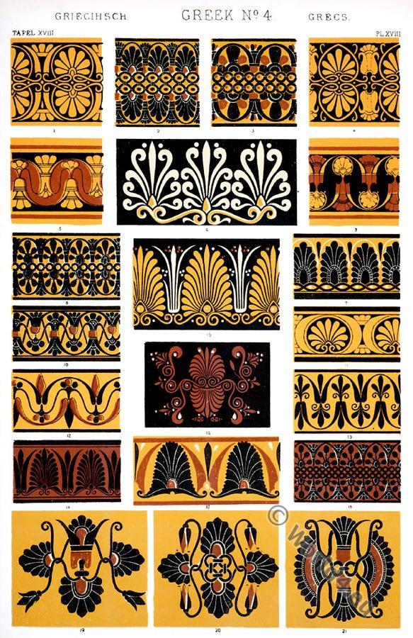 Greek Ornaments, varieties, borders, necks, lips, vases, British Museum, Louvre, Ancient design, Greece, Owen Jones