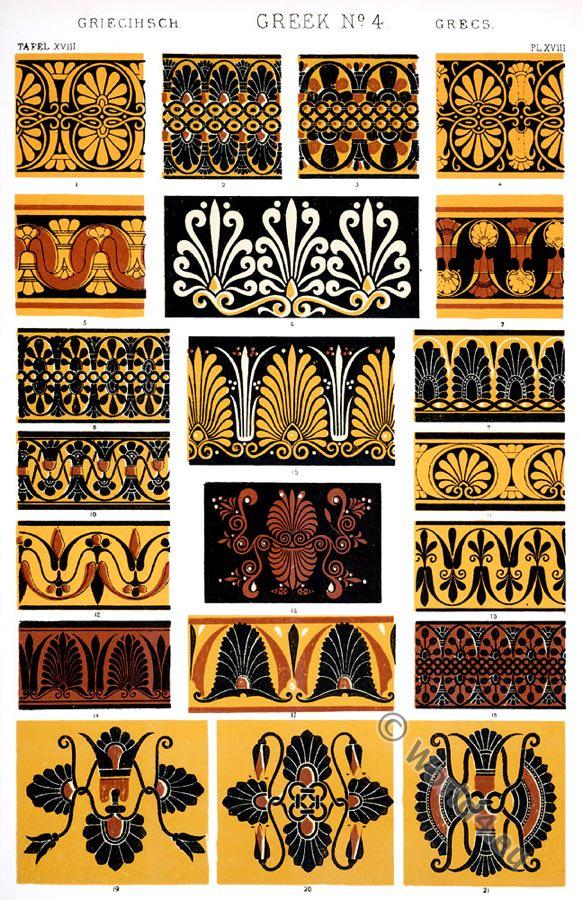 Greek Ornaments, varieties, borders, necks, lips, vases, British Museum, Louvre, Ancient design, Greece, Owen Jones