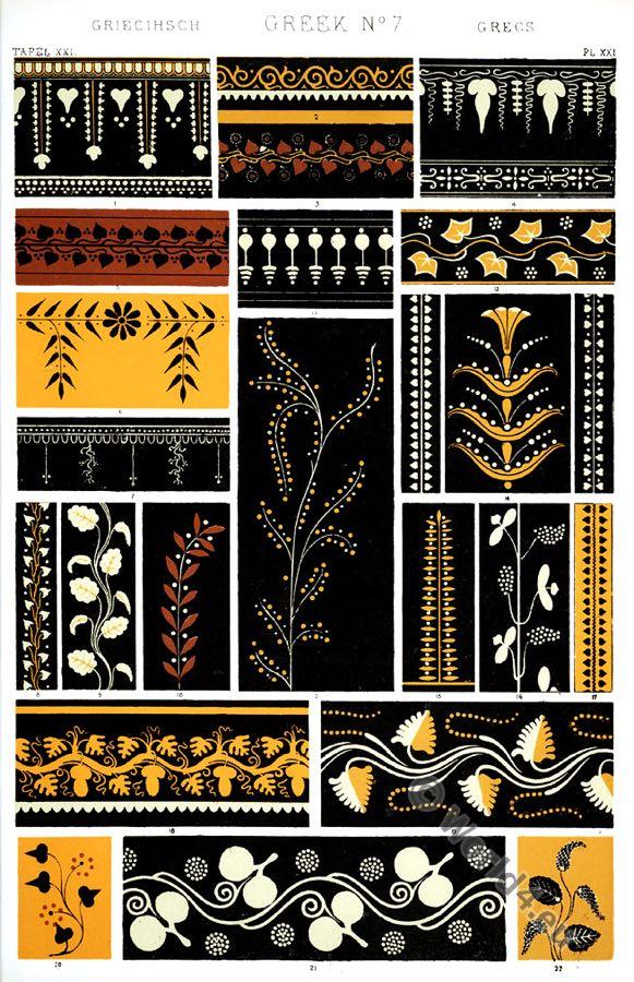Greek Ornaments, varieties, vases, Owen Jones, Ancient design, Greece