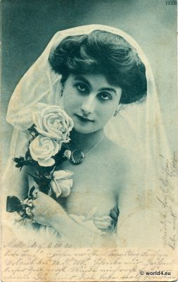Girls, German, Bride, costume, wedding, vintage, postcard,