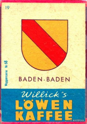Baden-Baden, Heraldry, Phillumeny, Germany, Illustration, Graphics Design, Matchbox 1960s, Löwen Kaffee