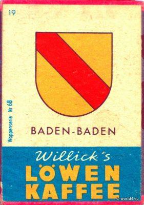 Baden-Baden, Heraldry, Phillumeny, Germany, Illustration, Graphics Design, Matchbox 1960s, Löwen Kaffee