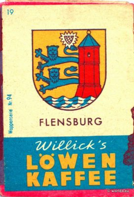 Flensburg, Heraldry, Phillumeny, Germany, Illustration, Graphics Design, Matchbox 1960s, Löwen Kaffee