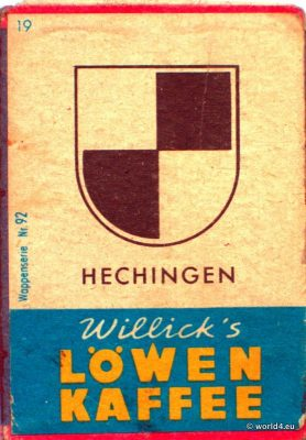 Hechingen, Heraldry, Phillumeny, Germany, Illustration, Graphics Design, Matchbox 1960s, Löwen Kaffee