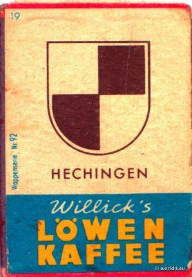 Hechingen, Heraldry, Phillumeny, Germany, Illustration, Graphics Design, Matchbox 1960s, Löwen Kaffee