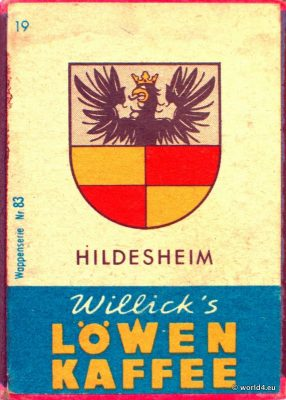 Hildesheim, Heraldry, Phillumeny, Germany, Illustration, Graphics Design, Matchbox 1960s, Löwen Kaffee