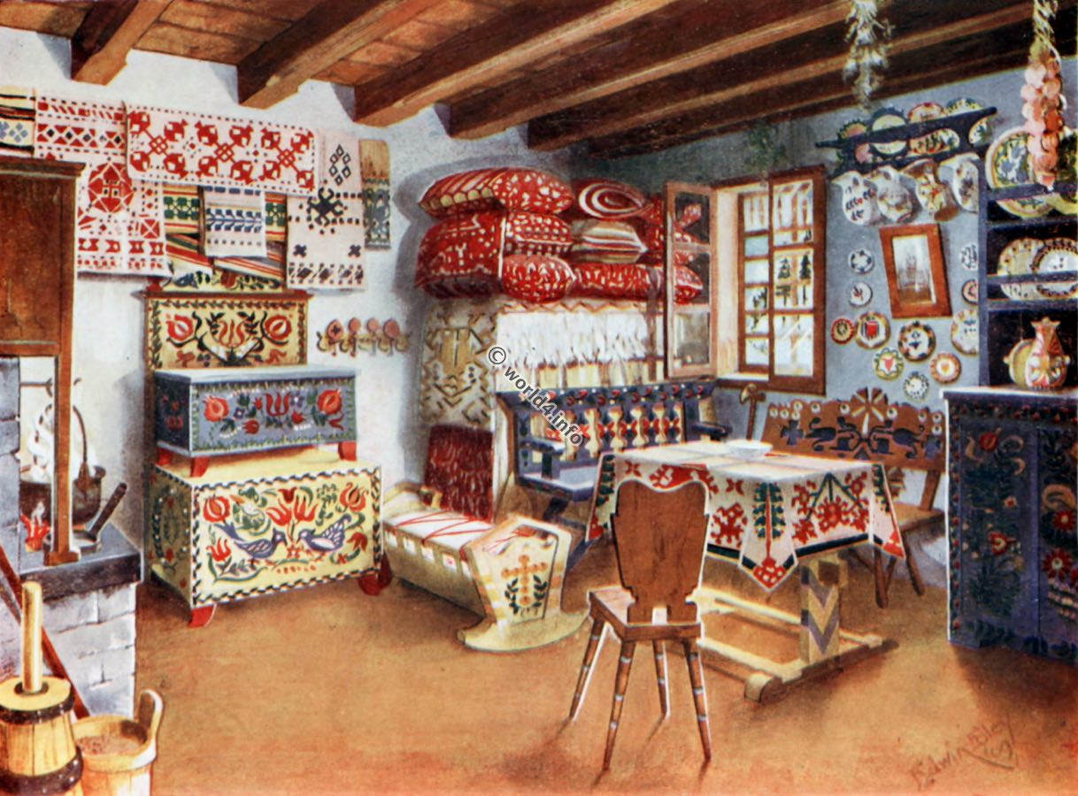 Living Room , Austro-Hungarian, Peasant, Furniture, 18th century, Antiquity